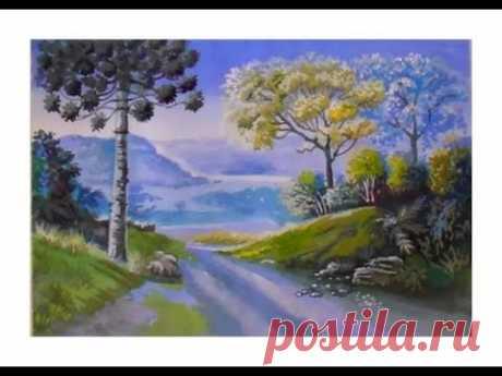 Как нарисовать пейзаж поэтапно/Как нарисовать пейзаж гуашью