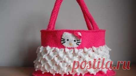 Knitted hook Hello Kitty handbag video master class lesson