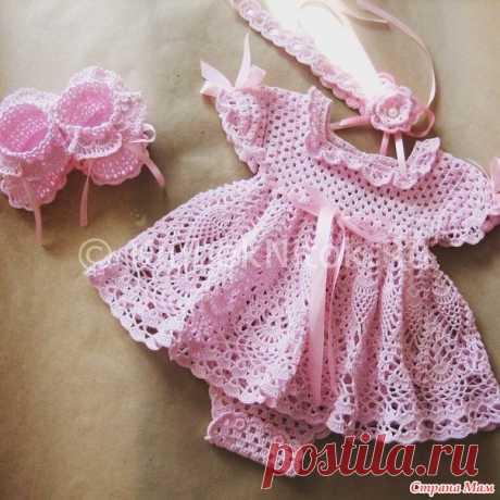 Нежное платье-боди для маленькой девочки. - Вязание - Страна Мам