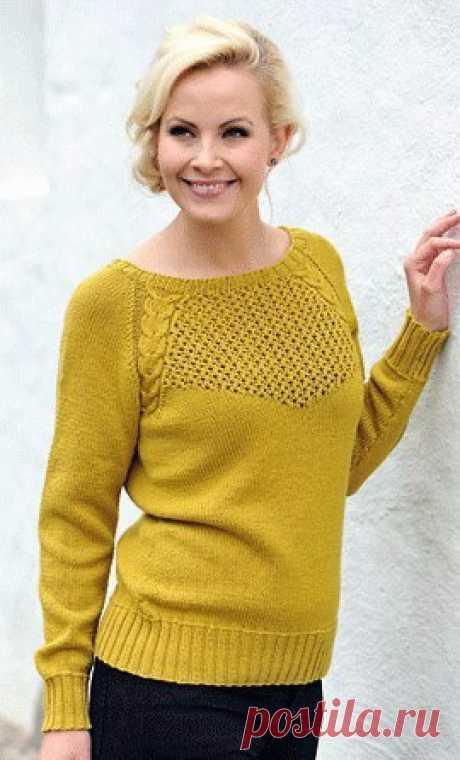 Элегантный пуловер реглан спицами Размеры: S (M) L (XL) XXL. Нравится публикация и хотите видеть описания пуловеров почаще? Дайте нам знать! Напишите в комментариях свое мнение! Окружность груди : 92 (98) 105 (111) 118 см.   Длина: 62 (63) 64 (65) 66 см.
