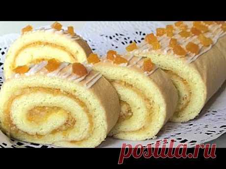 Рулет с лимоном и  курагой. Как правильно приготовить БИСКВИТ ДЛЯ РУЛЕТА. /Lemon roll