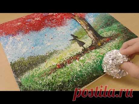 Aluminum painting technique / How to paint a girl under tree / Easy creative art - YouTube