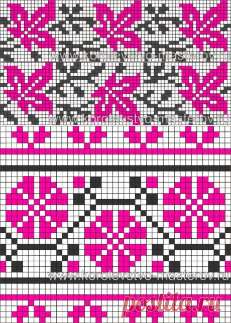 Схема вышивки крестом. Узоры. Орнаменты