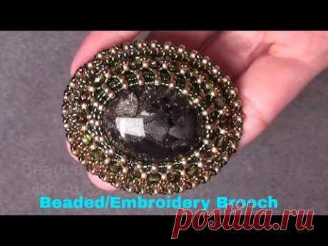 Tutorial how to make a Beaded/Embroidery  Brooch,  как сделать брошь с вышивкой из бисера