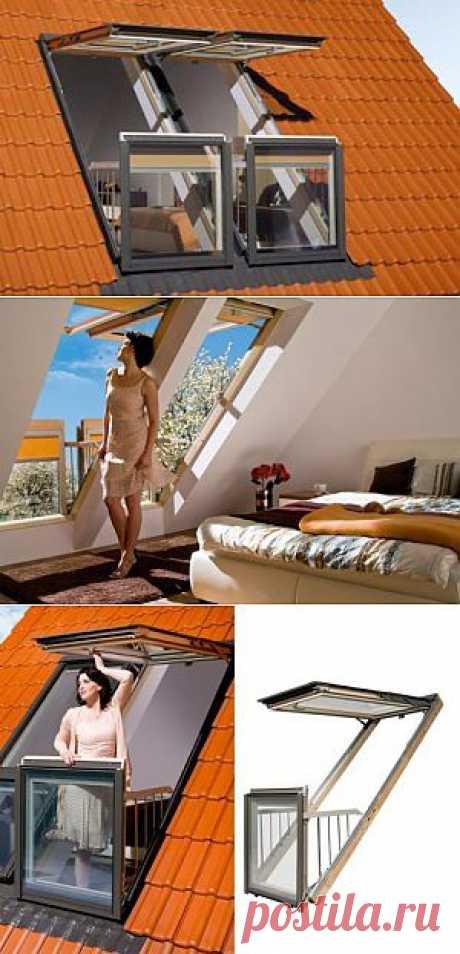Новые мансардные окна легко превращаются в балкончики на крыше
