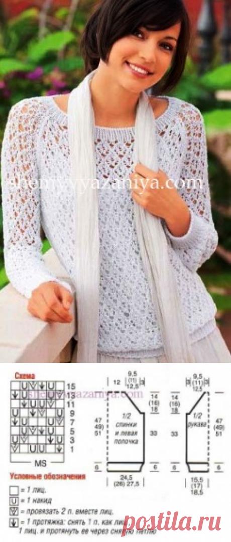 Пуловер-реглан из ажурных ромбов