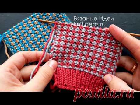 ПРОСТОЙ ДВУХЦВЕТНЫЙ УЗОР СПИЦАМИ! Simple two-color pattern knitting!