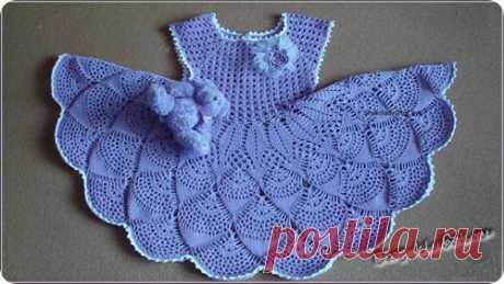Вязаное платье для малышки крючком