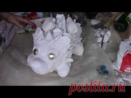 Ёжик из гипса для сада часть 2 ХоббиМаркет