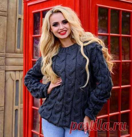 Свитер крупной вязки 2018 - 109 фото модных вязаных свитеров