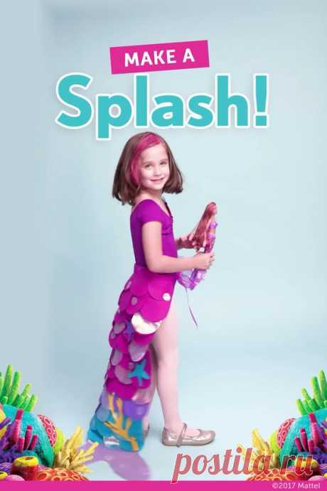 Learn how to make a simple, no-sew mermaid tail costume for Halloween! This one was based on the Barbie mermaid doll! #halloween #halloweencostume #mermaid #mermaidcostume #mermaidtail #diycostume