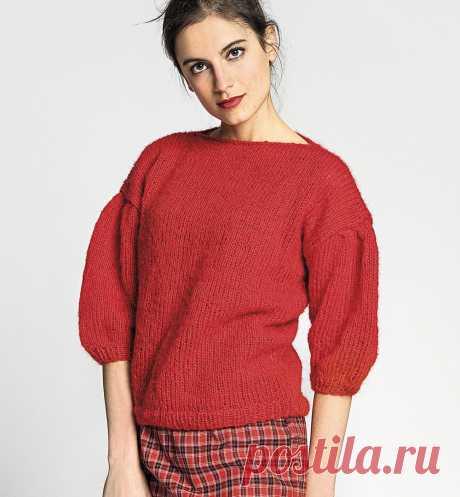 Красный джемпер с рукавами-буф - схема вязания спицами с описанием на Verena.ru