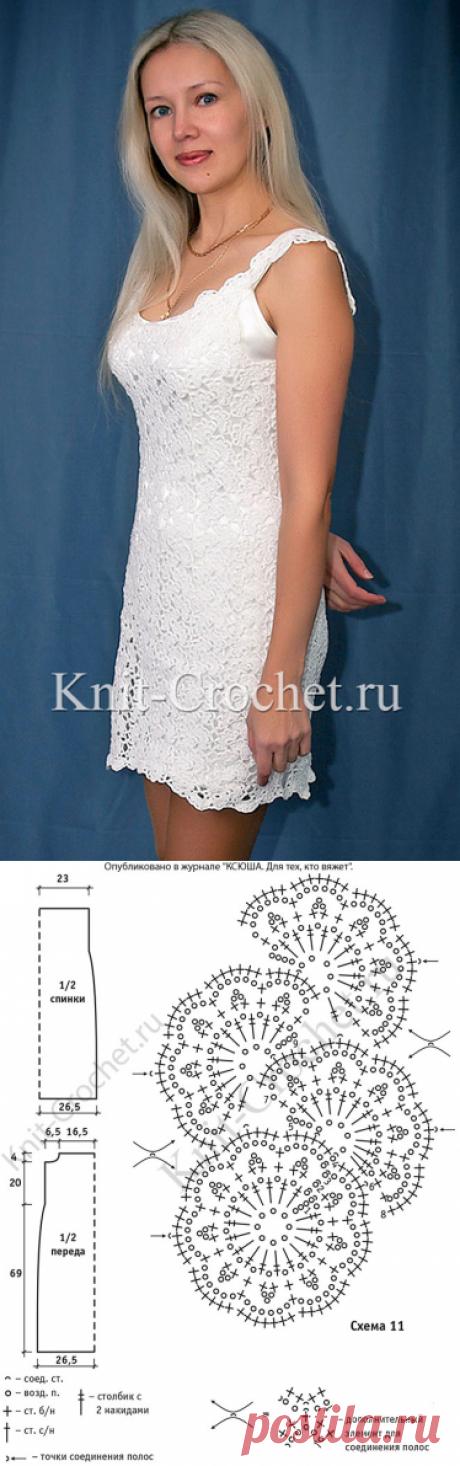 Платье из ажурных лент крючком.
