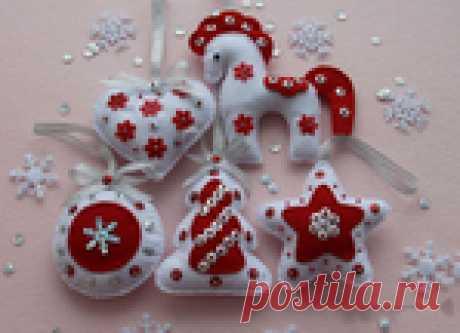 Изготовление новогодних игрушек из фетра