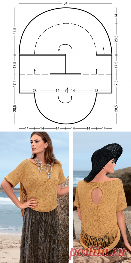 Semicircular jumper with a pattern from the lowered loops - the scheme of knitting by spokes. We knit Jumpers on Verena.ru