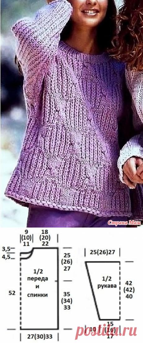 Красивый джемпер для роскошных дам, связанный патентным узором (описание до 58-го размера). Спицы. - ВЯЗАНАЯ МОДА+ ДЛЯ НЕМОДЕЛЬНЫХ ДАМ - Страна Мам