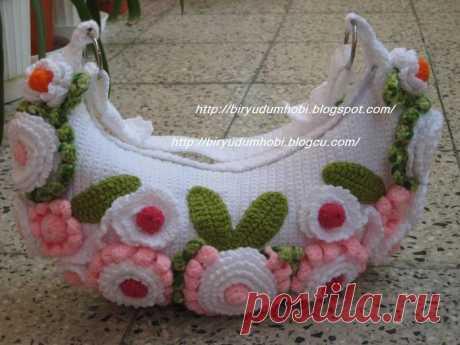 Вязание крючком. Сумка с цветами