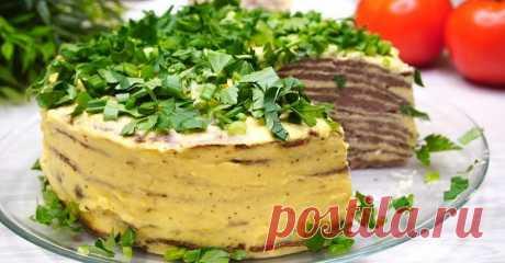 Слоистый, ароматный, нежный закусочный торт из печени с морковью — Фактор Вкуса