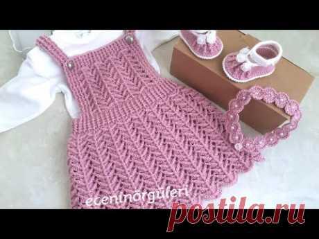 Вязаная крючком красивая модель Вязаное платье-салопет / Платье-модель для садовника