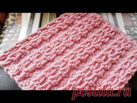 Вяжем поперечный объёмный узор ✔ knitting pattern.