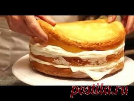 El bizcocho para la torta. El bizcocho la receta. La torta de bizcocho con la crema. La torta de bizcocho korzhey