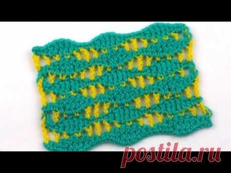 Волнистый узор из двух цветов пряжи   Wavy pattern of two colors of yarn