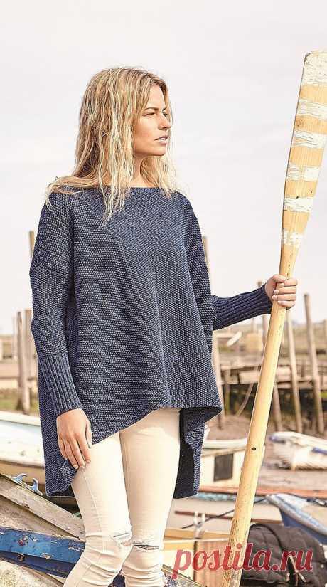 Джемпер оверсайз спицами. Схемы вязания свитеров oversize  