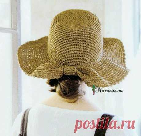 Летняя соломенная шляпка крючком. Схема вязания — HandMade