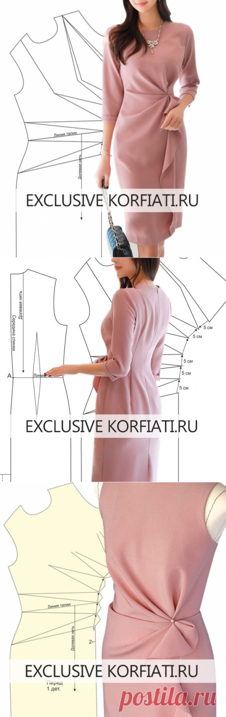 Выкройка платья с асимметричными складками от А. Корфиати