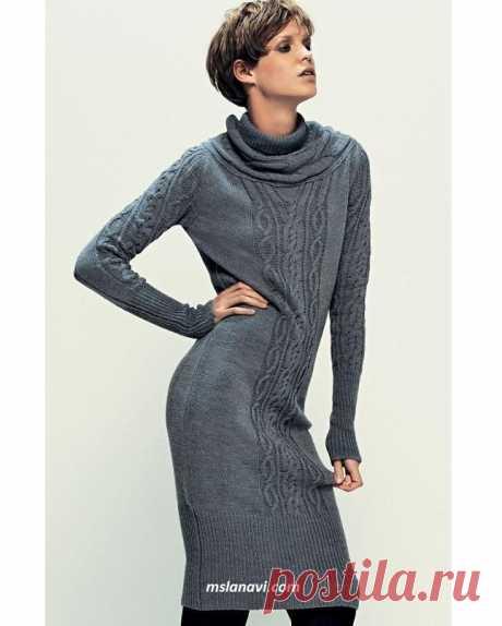 Теплое платье спицами   Вяжем с Лана Ви