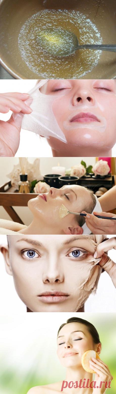 La máscara de las arrugas con la gelatina, las revocaciones