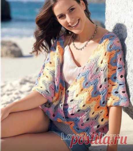 Ажурный пуловер оверсайз с запахом и глубоким вырезом схема крючком