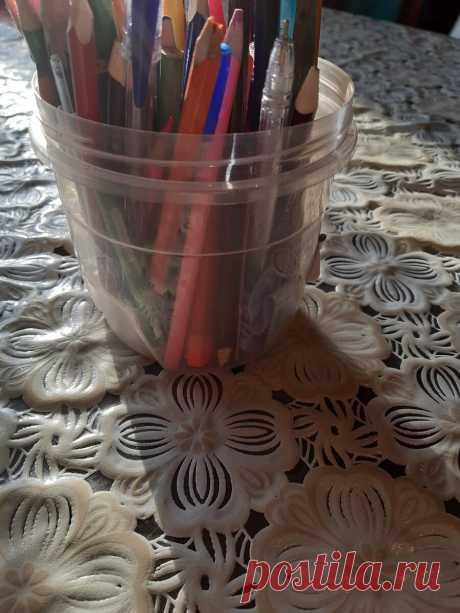 Подставка для карандашей. МК. #сидимдомаспользой.