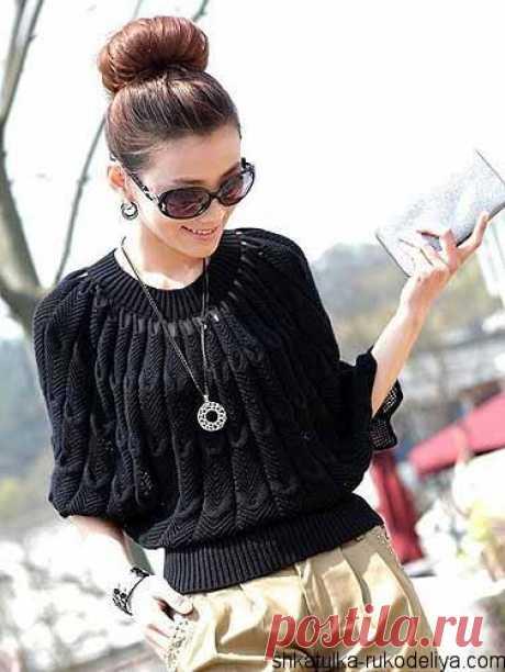 Стильный пуловер-пончо спицами. Схема красивого пончо спицами   Шкатулка рукоделия. Сайт для рукодельниц.