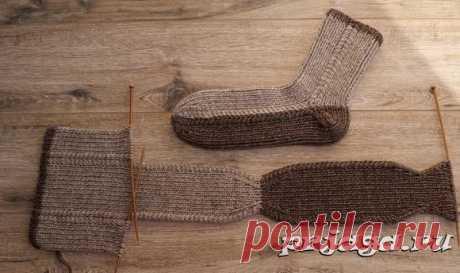 Мужские носки на двух спицах