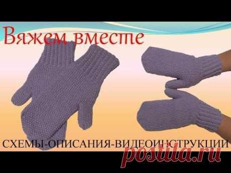 Вязаные варежки  Вязание спицами для начинающих