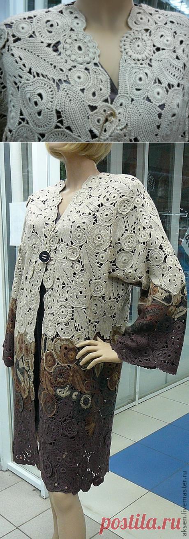 Купить Пальто летнее - коричневый, ирландское кружево, пальто вязаное, пальто крючком, Вязание крючком