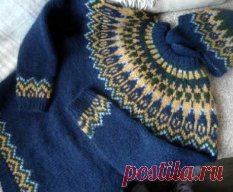 шапка и свитер исландским узором