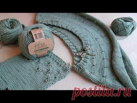 Вязание. ХЛОПКОВЫЙ  джемпер-футболка-топ на круглой кокетке / НАЧАЛО процесса #cottonwood