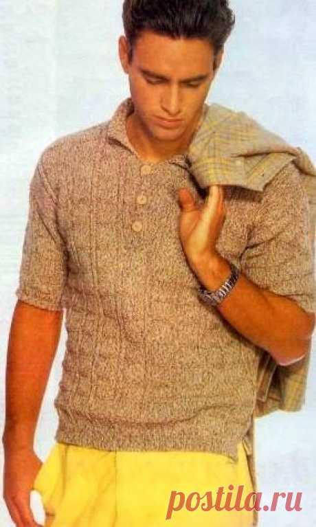 МК по вязанию спицами летнего мужского пуловера с застежкой поло с подробным описанием и схемой