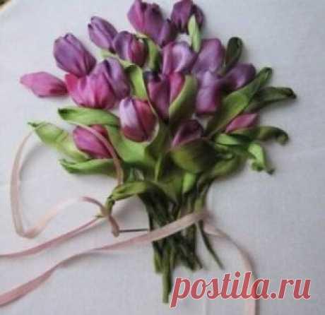Вышиваем тюльпаны лентами ~ Свое рукоделие