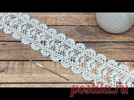 Ажурное ЛЕНТОЧНОЕ КРУЖЕВО вязание крючком мастер-класс  How to Crochet Lace Tape Ribbon - YouTube