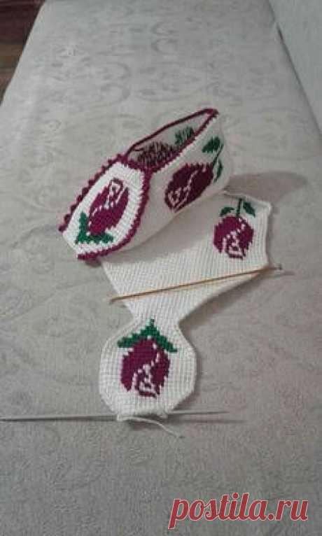 Носки тунисским вязанием