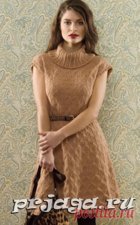 Связать платье спицами с ромбами