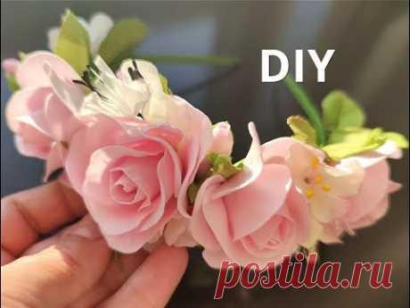 Нежный ободок из фоамирана своими руками DIY foamiran flowers