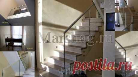 Лестницы, ограждения, перила из стекла, дерева, металла Маршаг – Стеклянные ограждения установка