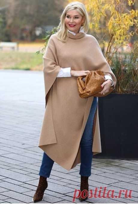Пончо, платок, юбка-плиссе...: как носить обычные вещи стильно женщинам 50+ | CLUB-WOMAN: Мода и стиль | Яндекс Дзен