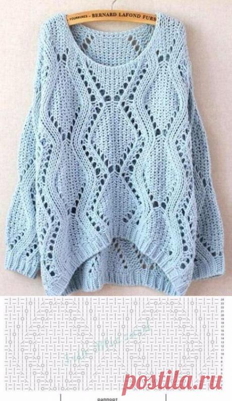 Узор для пуловера спицами. Ажурный узор для пуловера спицами | Я Хозяйка