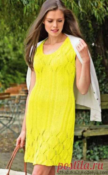 Ажурное приталенное платье. Летнее платье вязаное спицами   Шкатулка рукоделия