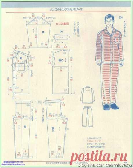 Мужская пижама. Выкройка на размеры M,L